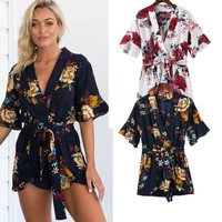 Casual Shorts Summer Stylish Print Jumpsuit [11405172687]