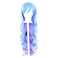 Ayumi - Pastel Rainbow Blend Wig 29'' Long Curly Cut w/ Long Bangs