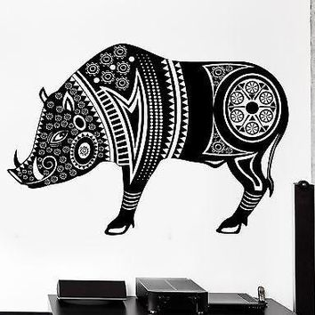 Wall Decal Animal Wild Boar Pig Tribal Ornament Mural Vinyl Decal Unique Gift (z3165)