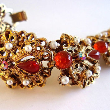 FLORENZA Red Moonglow Carnelian Cabochons Bracelet, Faux Pearls, AB, Gold Tone Vintage