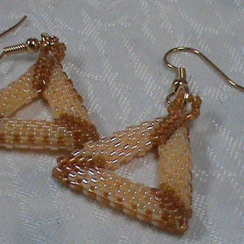 Buttercup yellow topaz seed beaded triangle earrings