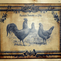 French Country Rooster Trio Canvas Wall Art 8X10