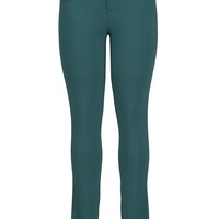 The Skinny Knit Pant With Faux Leather Piping - Black Sea