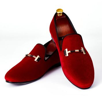 Harpelunde Italian Men Dress Shoes Buckle Strap Wedding Shoes Red Velvet Loafers