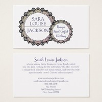 Lavendar And Charcoal Grey Decorative Monogram Business Card