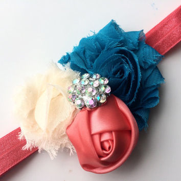 Turquoise and Coral Flower Headband - Coral Head Band for Girls - Boutique Headband for Spring - Coral Satin Rose Headband -