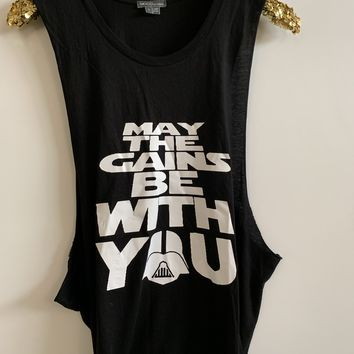 IG - FLASH SALE - May the Gains Be With You -  Ruffles with Love - Racerback Tank - Womens Fitness