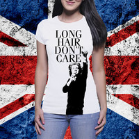 Harry Styles Long Hair Don't Care 1D One Direction Shirt! Super cute! Directioners take a look!