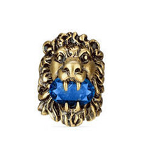 Gucci Lion head ring with blue crystal
