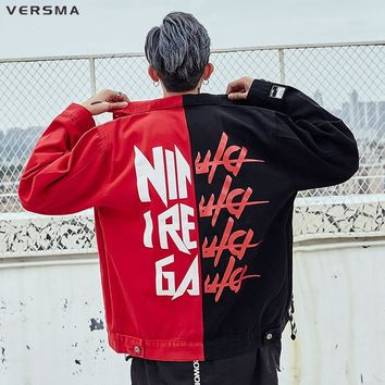 VERSMA High Street Hip Hop Vintage Men Denim Jacket Coat Korean Harajuku Ribbon Patchwork Streetwear College Jacket Dropshipping