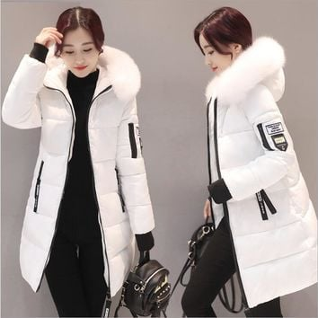 Women hooded warm coat winter jackets Big fur collar hats long parka cotton padded jacket female womens