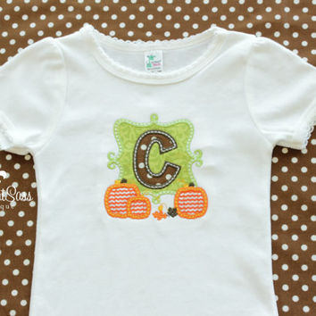 Girls or Baby Girls Thanksgiving Monogram Shirt with Bow - Personalized Fall Outfit - Custom-  First Thanksgiving - Pumpkin - Harvest
