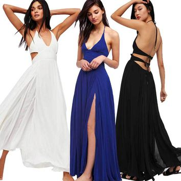 Low Cut Halter Top Long Slit Maxi Dress