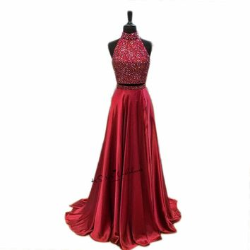 Christmas Two Piece Burgundy Prom Dresses 2018 Vestido de Baile Graduacion Gala Beads Long Evening Gowns Open Back Galajurken