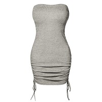 Stretchy Ribbed Knit Infinity Multi-Way Convertible Tube Dress Top Skirt