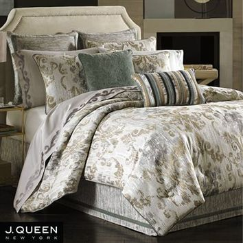 Seville Damask Scroll Comforter Bedding by J Queen New York