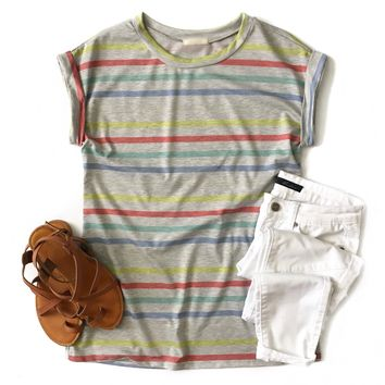 Rainbow Striped French Terry Top