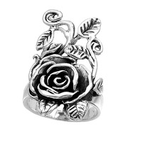 925 Sterling Silver Antique Design Rose Flower 32MM Ring