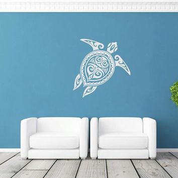ik1889 Wall Decal Sticker sea turtle tattoo style bathroom living room