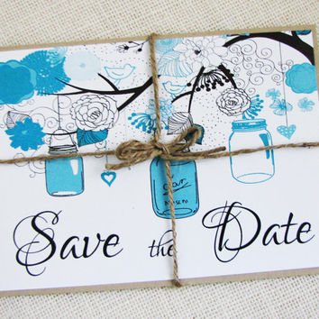 Rustic Country Mason Jar Tiffany Blue Wedding Save the Date Postcards