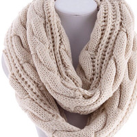 Ivory Handknit Infinity Scarf Back to School Hand Knitted Scarf - By PiYOYO