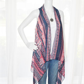 Americana Draped Vest/ Assymetrical Waterfall Vest/ Lightweight Cover up/ Long and Loose Vest/ Kimono Style Top/ Boho Wrap