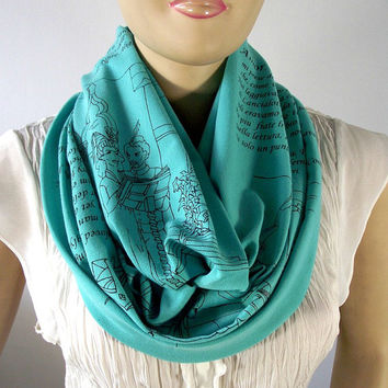 Dante's Inferno Scarf Mint Infinity Scarf -The Divine Comedy -Literary Scarf Book on Scarf - Book Lovers Gift Classic Literature