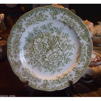Vintage Sage or Light Olive Green Transferware Plate Roses Daisies Flowers