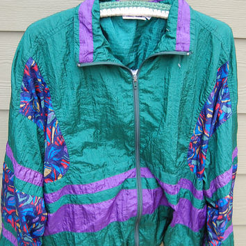 Vintage 80s Oversize Baggy Windbreaker Windsuit Nylon Jacket Size