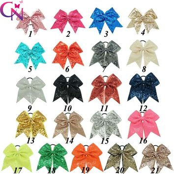 "21 Pcs/lot 8"" Fashion Handmade Sequin Bling Cheer Bows For Girls Kids Sequin Hair Bows Hair Hair Accessories With Elastic"
