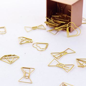 TUTU 30PCS/LOT high quality Paperclip Book Mark Bow Clip Accessories Bookmark Bookend Clip Metal Paper Clip Gold Paperclip H0030