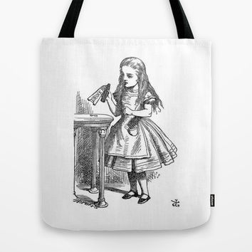 Drink Me vintage Alice in Wonderland emo goth antique book sketch drawing print  Tote Bag by iGallery