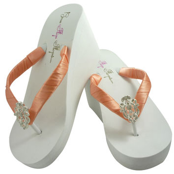 Peach Satin & Vintage Lace Bride & Bridesmaid Flip Flops with Platform Wedged Heel