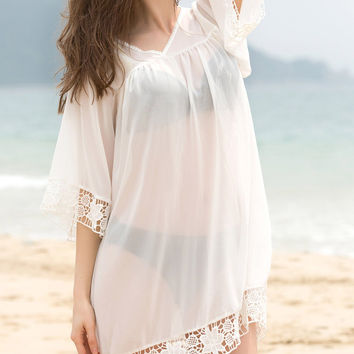 White V- Neck Cover-Up with Lace Trim