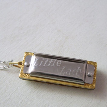 Little Lady Harmonica Necklace - Silver and Brass Hohner Mini Harmonica Necklace Long Silver Chain