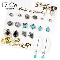 17KM Bijoux Waterdrop Butterfly Crystal Stud Earrings For Women Vintage Boho Brincos Flower Clip Cuff Earring Set 9 Pairs/Set