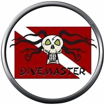 Divemaster Certification Dreadlock Skull Scuba Diver Down Flag Red White 18MM - 20MM Snap Jewelry Charm