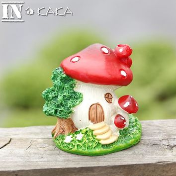 Flower mushroom house figurine Furniture figures Micro landscape garden miniature terrarium figurine Decoration bonsai ornaments