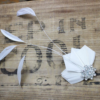 Ivory White, Feather Fascinator, Swarovski Crystal, Hair Accessory, Clip, Bridal, Bridesmaids