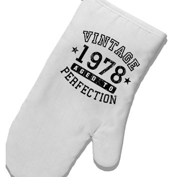 40th Birthday Vintage Birth Year 1978 White Printed Fabric Oven Mitt by TooLoud