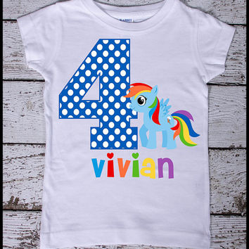 Rainbow Dash My Little Pony  Personalized Birthday tee shirt with age and name