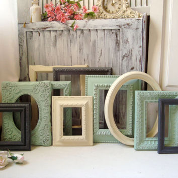 Mint Green and Gray Picture Frames, Ornate Vintage Frame Set, Frame Collage,  Frame