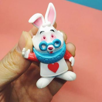 Kawaii Alice in Wonderland the Mr. Bunny Rabbit Model Toys 6CM Anime Doll Action Figure Children Toys For Kids Christmas Gifts