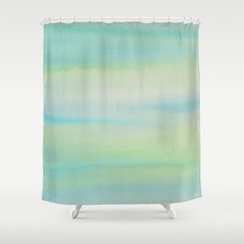 Blue Green Watercolor Shower Curtain - Southern Sea , unique,blue, teal, green, soft, seascape, fine art painted, colorful, decor, home