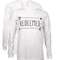 Southern Couture Lightheart Redeemed Arrows Triblend Front Print Long Sleeve T-Shirt