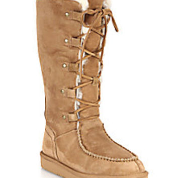 UGG Australia - Appalachian Lace-Up Shearling-Lined Suede Boots - Saks Fifth Avenue Mobile