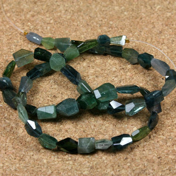 AAA Tourmaline Faceted Nugget Beads - Blue, Green and Teal Transparent Gem Quality Beads, 8.5 inch strand