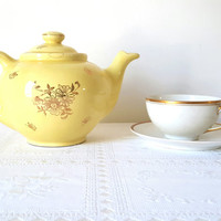 Vintage Tea Coffee Pot Sunshine Yellow with Gold Floral Design Large Yellow Gold China Tea Pot Tea Lover Gift Tea Brewer Tea Maker