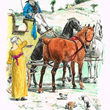 "Tristram's Coaching Ways - ""A MORNING DRAUGHT"" - Hand-Colored Lithograph - 1888"