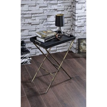 Astonishing Tray Table, Black Weave & Antique Gold By ACME
